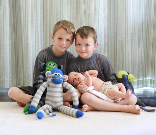 Three boys and monkies